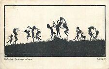 Artist Diefenbach Silhouettes shaddows children music games dance