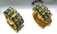 Vintage Emerald rhinestones clip earrings. A20.