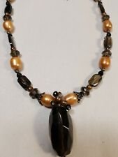 "Barse Pearl & Glass Bead 18"" Necklace Silver 925 Closure #8220"