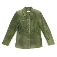 Lord & Taylor Women's Button Up Suede Leather Jacket Green • Petite Small PS