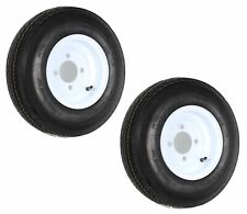 2-Pack Trailer Tire On Rim 480-8 4.80-8 8 6 Ply LRC 4 Hole Lug White Wheel