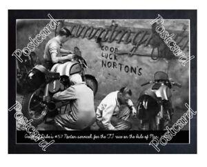 Historic Geoffrey Duke's #57 Norton serviced, 1950 Isle Of Man TT Postcard