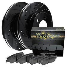 Fit 2012 Ford Focus Front Sport Black Drill Slot Brake Rotors+Ceramic Brake Pads