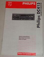 Manual de instrucciones de Philips autoradio dc 415 stand 10/1995