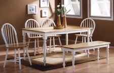 White Dining Set 6 pc Dinette Sets Bench Chair Table Kitchen Room Chairs Oak New