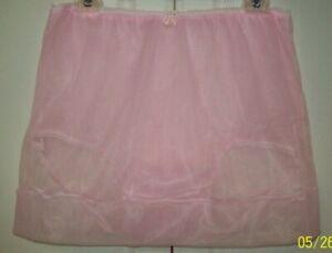 "PINK Sheer Nylon SLIP & 5"" SLEEVE PANTY Sheer Hem * 30-44 Waist * Length 15"" **"