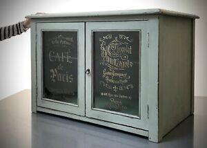ART DECO KITCHEN DISPLAY CABINET. FRENCH PERFUME BOTTLE GRAPHICS. CAFE PARIS.