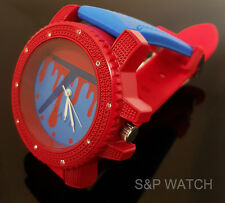 New Hip Hop Iced out Techno Pave Fashion Red/Blue Silicon Sports Analog Watch