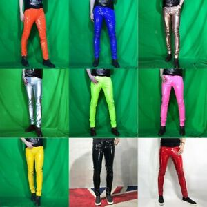 Mens Shiny Metallic Faux Leather Pants Skinny Stretch Trousers Clubwear Slim Red