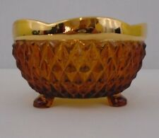 Amber Heavy Diamond Pressed Glass Three Footed Gold Trimmed Bowl