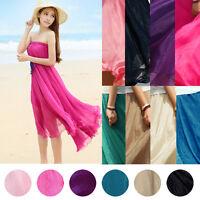 Boho Elastic Waist Chiffon Pleated Long Summer Maxi Beach Full Skirt Women Dress