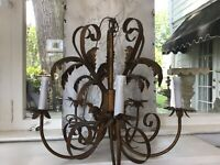 shabby Antique Vtg Tole Chandelier Italian Style