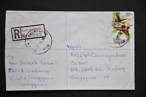 Malaysia Registered Cover - KUALA TRENGGANU TRG 6 FE 73 to Singapore (LC748)