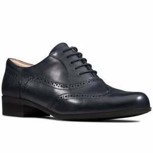 BNIB Clarks Ladies Hamble Oak Navy Blue Leather Brogue Shoes