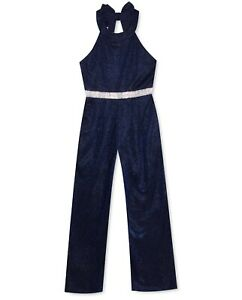 New Rare Editions Sparkle-Knit Bowback Jumpsuit Formal Dress Up, Navy, MSRP $68