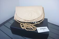CHANEL Beige Caviar Leather GHW Wallet on Chain WOC