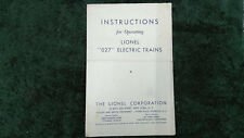 """LIONEL 1067 """"027"""" ELECTRIC TRAINS INSTRUCTIONS PHOTOCOPY"""