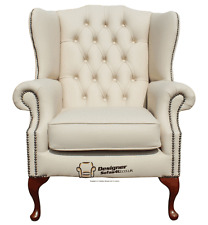 Chesterfield Armchair Mallory Flat Wing High Back Chair Cream Leather