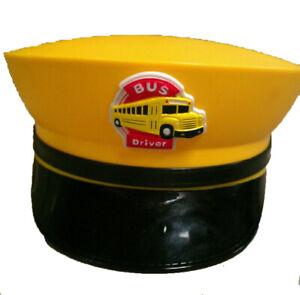 Yellow Bus Driver Hat School Bus Schoolbus Cap Costume Dress Up Adult Cosplay