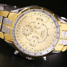 ROSRA MENS FASHION DRESS WATCH Gold Silver Strap Band Army Analog Bling 84