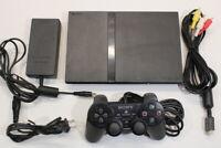 Sony PS2 Slim Black Console 70k AC AV Cont Bundle Japan Import US Seller 2PC74