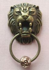 DOLLS HOUSE BRASS FINISHED LION HEAD DOOR KNOCKER WITH STRIKER