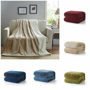 Sherpa Flannel Fleece Reversible Warm Throw Bed Blanket Extra Soft Tache