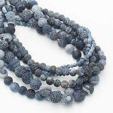 "4-14mm Frost Crackle Agate Round Loose Beads 15"" 12Colors, more size"