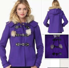 NWT Juicy Couture Purple Black Duffle Toggle Coat Hooded Jacket Wool Size L