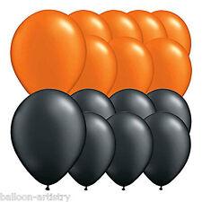 "15 Black & Orange Halloween Children's Birthday Party 10"" Latex Balloons"