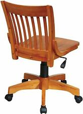 Nice Solid Wood Office Desk Chair Light Finish Rolling Chair With Casters