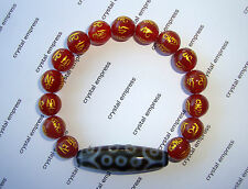 Feng Shui 2016 - 21 Eye Dzi with 10mm Red Agate Mantra