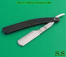 Straight Barber Razor Classic Shave Black Handle B-760