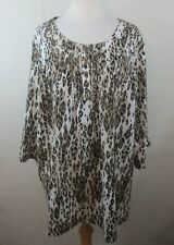 MAGGIE BARNES Plus Size Blouse, Sz  2X 18W 20W, Animal Print, Embellished P909