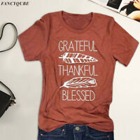 Thankful Grateful Blessed Feather Print T-Shirt Thanksgiving Women Tee Tops Gift