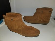 MINNETONKA WOMENS FRINGE ANKLE BOOT MOCCASINS SIZE 8.5M BROWN LEATHER GUC