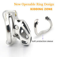 KIDDING ZONE New Metal Openable Rings Design Male Chastity Device Vent Hole Cage