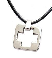 Titanium Box Cross Pendant w/ Leather Necklace