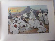 ALGERIE/Gravure 19°in folio couleur/ Le Coucoussou dans le Douar