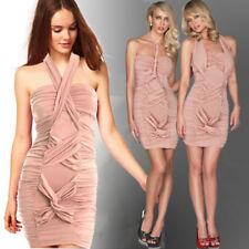 Bodycon Polyester Halter Sleeve Dresses for Women