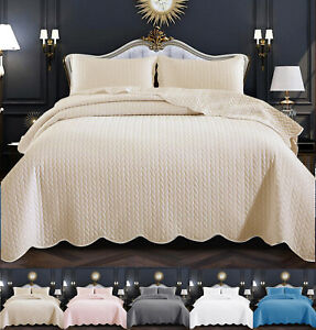 3 Piece Bedspread Quilted Embossed Bed Throw Single Double King Size Bedding Set