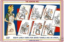 FRENCH CHEFS 8 - embroidery Iron-on transfer patterns aprons VINTAGE # 137