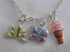 Frog Necklace Butterfly Charm Ice Cream Cone Charm Necklace Silver Chain 16""