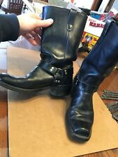 Vtg 1990s Landis Black Leather Harness Boots Classic Rocker Biker Motorcycle 10