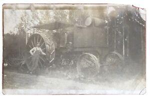 RPPC Circa 1908 Vintage Early Gasoline Powered Farm Tractor