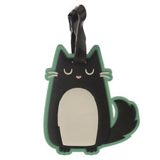 Feline Fine Funny Black Cat Soft PVC Luggage Tag - Name, Address, Phone Number