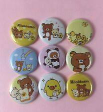 "Rilakkuma 1"" Button Pin Lot Cute Bear and Duck Japan Set #1"