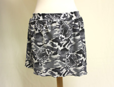 M Black Gray & White Cougar Cat Camo Stretch Skater Skirt Medium Handmade in US