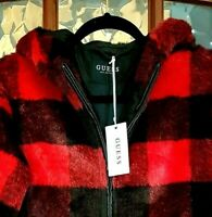 GORGEOUS Ladies Guess Faux Fur Jacket Red Black Check Hooded XS 8-10