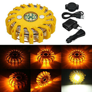 Car Auto LED Rechargeable Magnetic Emergency Hazard Warning Light Strobe Yellow